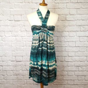 BeBop Ruched Teal Tie Dye Knit Halter Dress SM